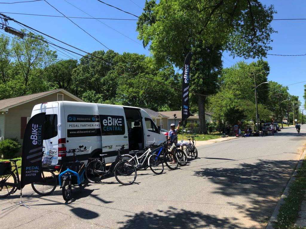 eBike Central in Charlotte NC attending the Open Streets 704 event
