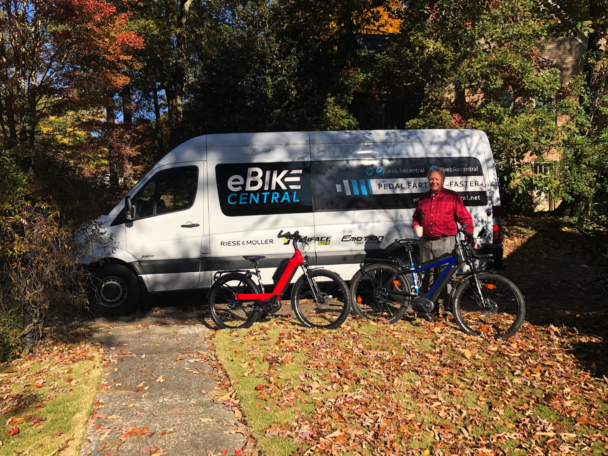 Ned receiving his wife's Riese & Muller Nevo GX Dual Battery