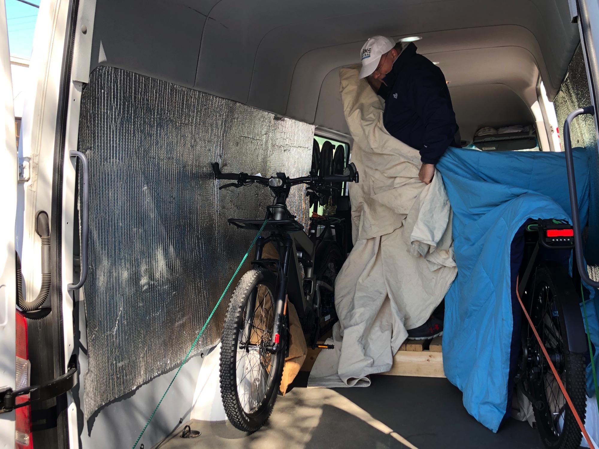 Loading Deliveries in eBike Central Van in Greensboro NC