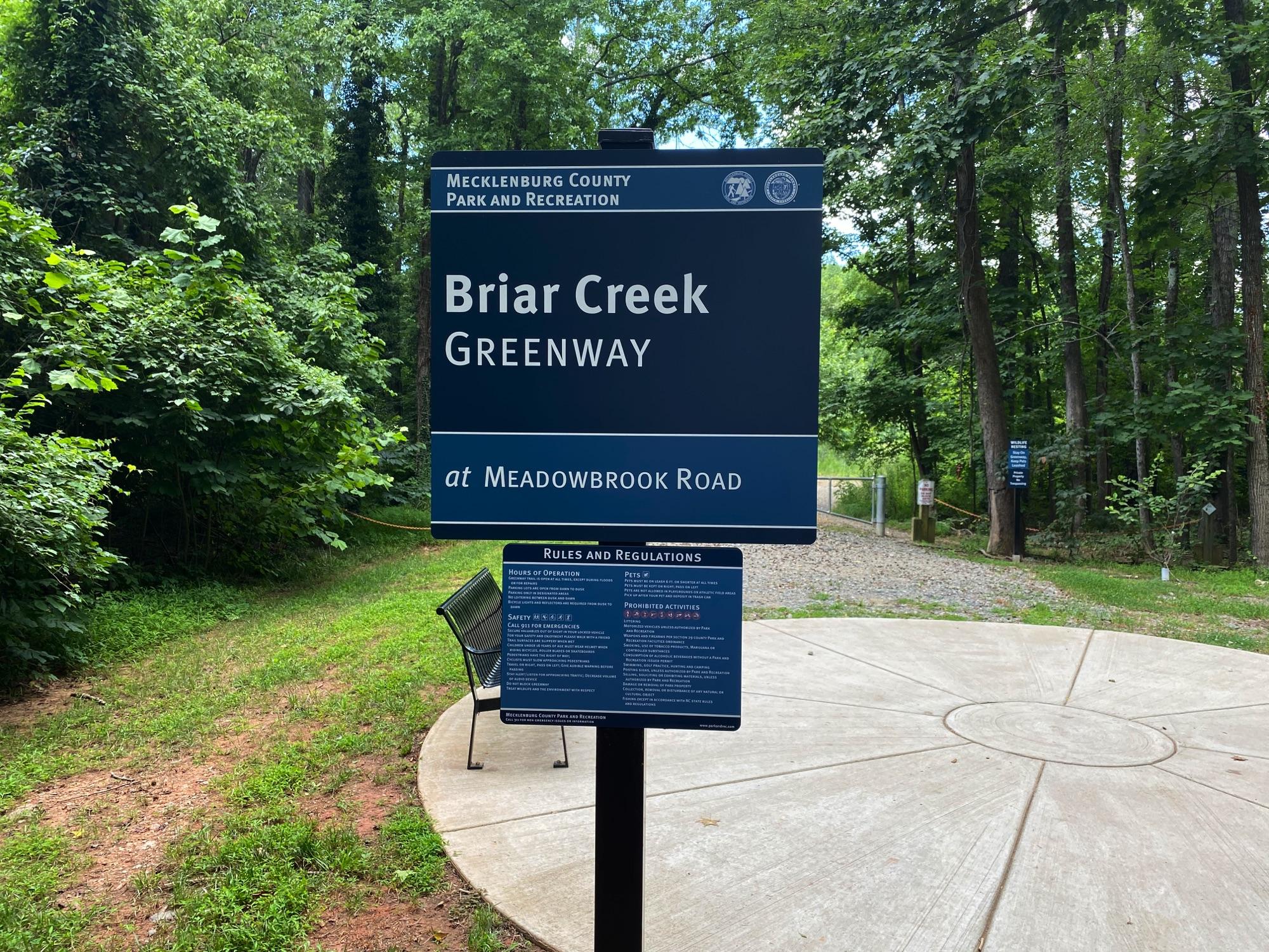 Entering Briar Creek Greenway, Charlotte NC
