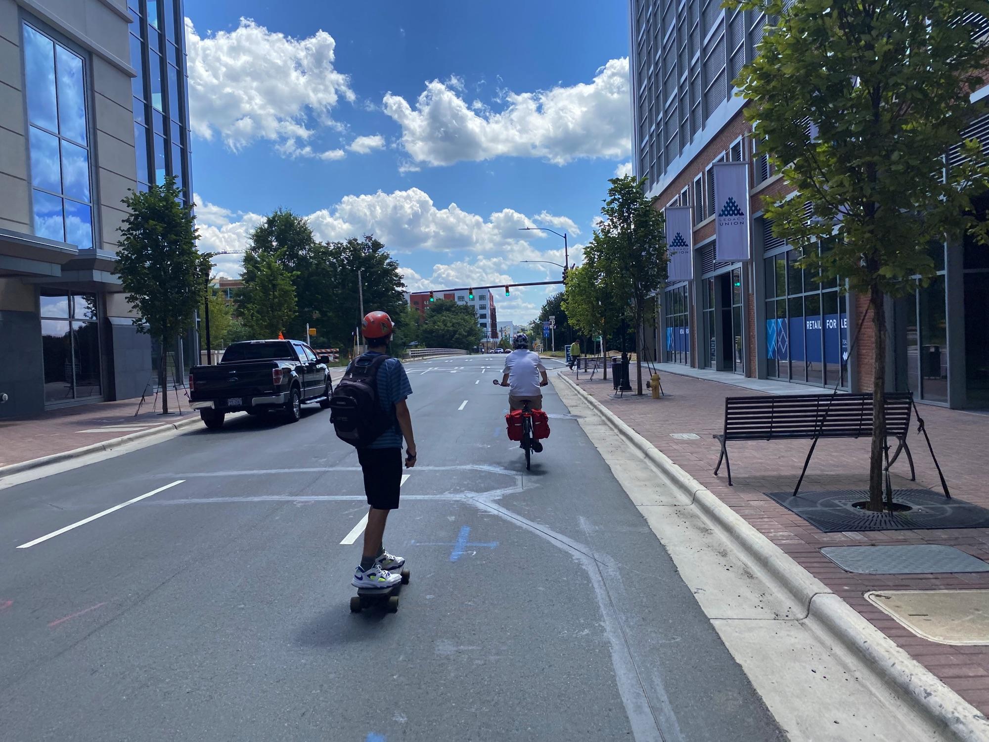 Riding down Tryon Street, Charlotte NC