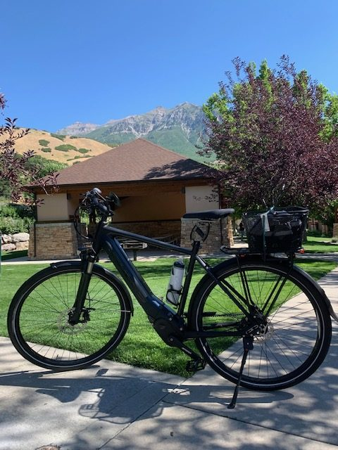 Harry is riding his eBike on the Murdock Provo River Trail in Utah